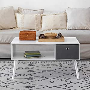 DSDecor Modern Coffee Table with Drawer and Storage Shelf Rectangle Wooden Sofa Table Office Table Cocktail Table TV Table for Living Room Apartment Reception Area