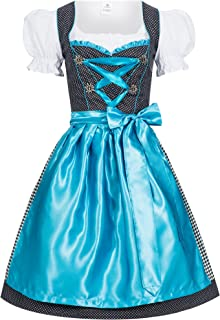 Women's German Dirndl Dress Costumes For Bavarian Oktoberfest Carnival Halloween Karla Light Blue 46