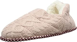 Dearfoams Quilted Cable Knit Bootie, Pantofole a Collo Alto Donna