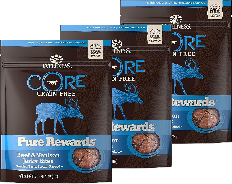 WELLNESS CORE Pure Rewards Natural Grain Free Dog Treats, Soft Jerky Bites, 4-Ounce Bag (Beef & Venison Jerky, (3 Pack) 4-Ounce Bag)
