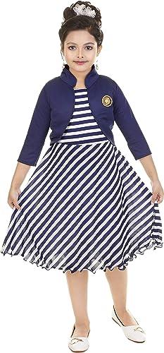 Girl s A Line Knee Length Dress Blue White 4 5 Years
