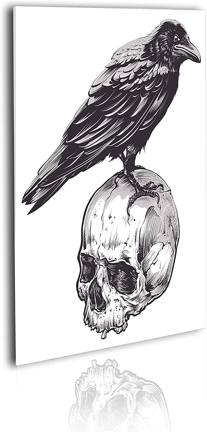 Ambesonne 70% OFF Outlet Indefinitely Scary Acrylic Glass Wall Crow Art Movies Theme