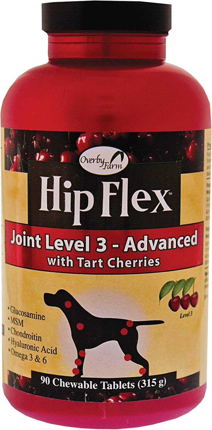 Overby Farm Hip Flex Joint Level 3 Advanced Care with Tart Cherries for Dogs, 90 ct Chewable Tablets , Made in USA