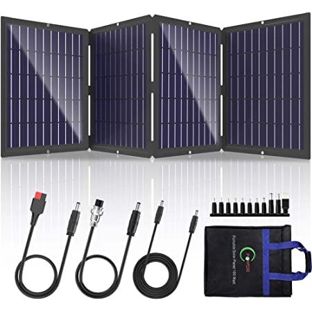 POWOXI Portable Solar Panel 100W Foldable Solar Panel Charger Kit for Jackery Power Station, Goal Zero Yeti Power Station, uaoki Portable Generator USB Devices with USB and DC Port