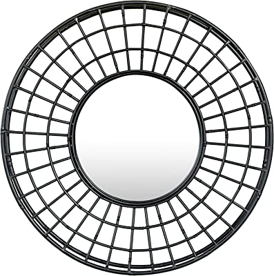 "Bloomingville Decorative 24"" Round Metal Wall Mirror, Black"