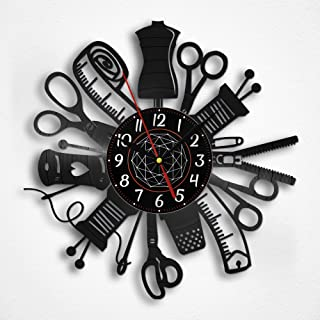 OhMyGifs Sewing Tools Vinyl Record Wall Clock - Sewing Machine Kit Scissors Beginner Mini Kids Brother for Adults Tool Gifts