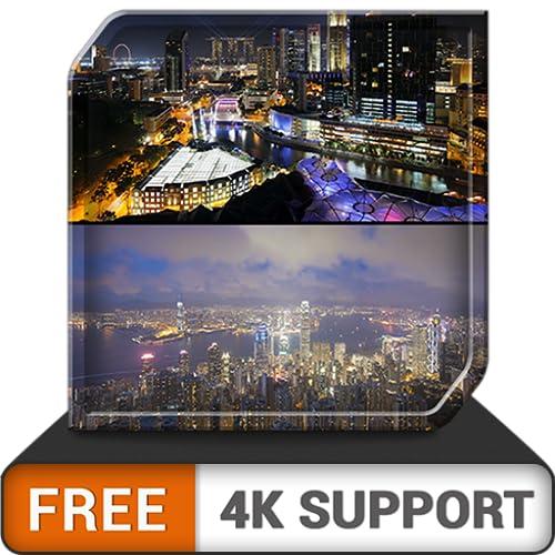 free city night dream - dekorieren Sie Ihr Zimmer mit einer wunderschönen Landschaft auf Ihrem HDR 8k 4k-Fernseher und Feuergeräten als Hintergrundbild und Thema für Vermittlung und Frieden