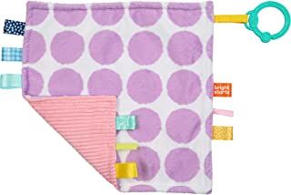 Bright Starts Little Taggies 2-Sided Soothing Blankie Take-Along Toy - Purple Dots, Newborn +