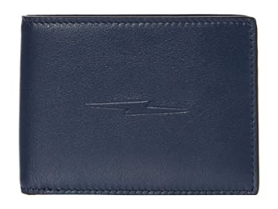 Shinola Detroit Slim Bifold w/ Bolt Smooth Grain Leather (Navy) Wallet Handbags