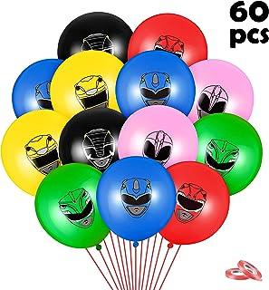 HAOORYX 60Pcs Power Hero Balloons Kit Party Supplies, 12'' Rangers Ninja Steel Latex Balloons Super Hero Theme Parties Dec...