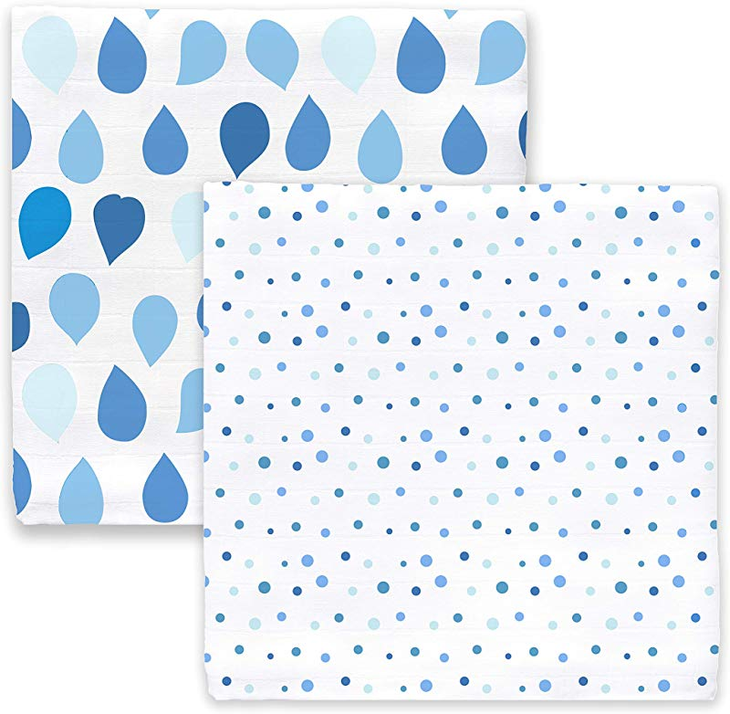 Amazing Baby Silky Swaddle Muslin Blankets Set Of 2 Bamboo Viscose Drops And Dots Blue