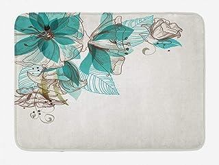 Ambesonne Turquoise Bath Mat, Flowers Buds Leaf at The top Left Corner Festive Season Celebrating Theme, Plush Bathroom De...