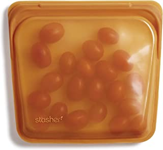 Stasher 100% Silicone Food Grade Reusable Storage Bag, Honey (Sandwich) | Plastic Free Lunch Bag | Cook, Store, Sous Vide,...