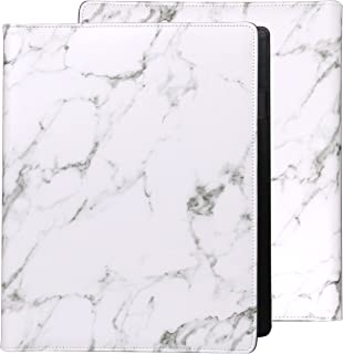 Z PLINRISE Luxury Marble Portfolio File Folder Document Resume Organizer,Padfolio File Holder Folders Letter Size,Standard 3 Ring Binder with Clipboard (Marble White)