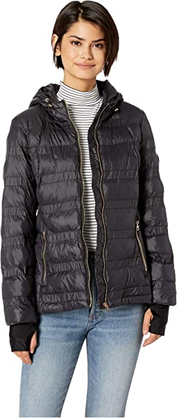 Horizontal Puffer w/ Zip-Up High Neck