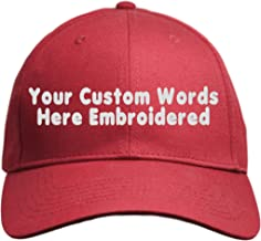 Custom Hat, Embroidered. Your Own Text. Adjustable Back. Curved Bill Many Colors