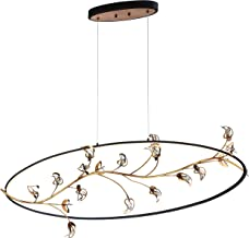 Eurofase Peralta Hand Crafted LED Oval Chandelier, Bronze Ring Suspended with Antique Gold Leaf Branches and Crystal Details, 49 Inches Long-Model 31393-010