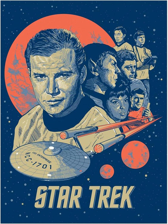 Weibing Película clásica Star Trek Poster Pintura Abstracta en Lienzo para cafetería Bar Decoración y colección de Ventiladores 50X70 Cm (19.68X27.55 in) S-944