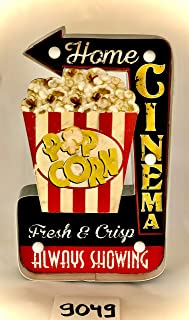 DiiliHiiri Panneau rétro Lumineux Style cinéma Vintage en métal Artisanat Accessoires Décoration Maison Popcorn Home Cinéma