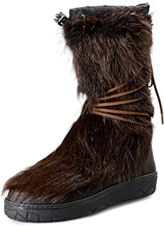 Men's Brown Leather & Real Fur Snow Boots Shoes US 12 IT 45