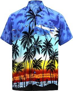 7d31e20d Men's Regular Fit Camp Palm tree Short Sleeves Button Down Hawaiian Shirts  aloha