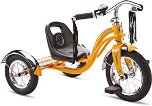 Schwinn Roadster Tricycle with Classic Bicycle Bell and Handlebar Tassels, Featuring Retro Steel Frame and Adjustable Seat
