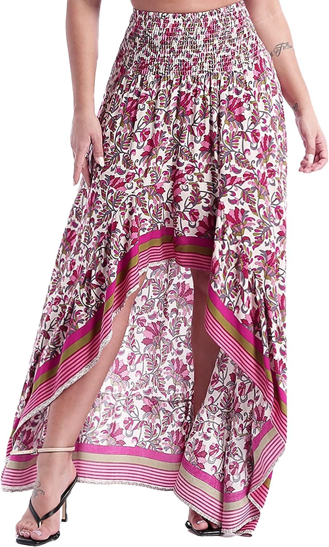 Aislor Women's Casual Floral Print Asymmetrical Hem Long Skirt High Low Split A-Line Flared Skirt