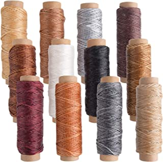 FEPITO 12 Colors Leather Waxed Thread Cord 392 Yards 150D Sewing Waxed Thread for Leather Craft DIY Sewing Craft