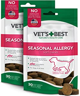 Vet's Best Seasonal Allergy Soft Chew Dog Supplements | Soothes Dogs Skin Irritation Due to Seasonal Allergies
