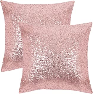 PONY DANCE Sequins Cushion Covers - Xmas/Party/Banquet Home Decor Luxurious Sequins Throw Pillow Cover Shams Glitter Pillowcases Including Hidden Zipper Design, 18 x 18 in, Pink, Set of 2