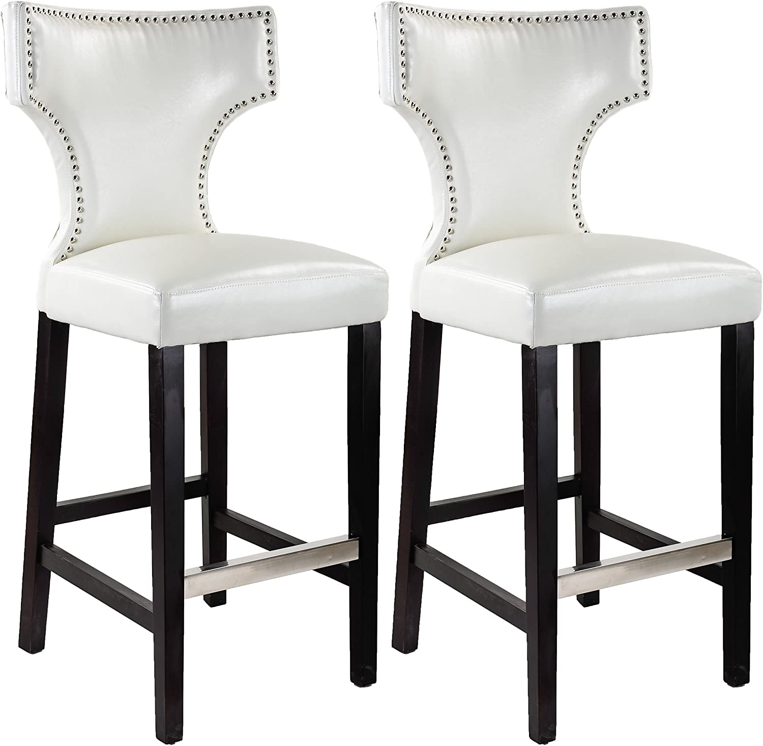 CorLiving Kings Bar Height Barstool in Product Max 82% OFF Studs W Metal with White