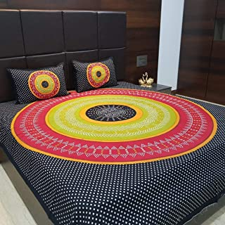 JAIPUR PRINTS 100% Cotton Comfort King Size Tradition Double bedsheet for King Size Bed Offer with 2 Pillow Cover - Multi Fast Color.