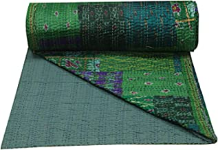 Designer Assorted Patchwork Green Silk Patola Indian Queen Kantha Quilt Indian Hippie Bohemian Bedding Bedspread Throw Bla...