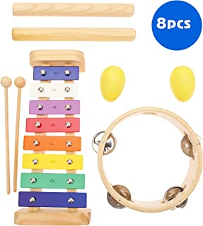 MUSICUBE Musical Instruments Toys for Kids, 8 Pcs Wooden Percussion Instruments for Boys Girls, Baby Educational Music Toys with Xylophone, Shake Eggs, Claves and Tambourine Instrument Kids Preschool