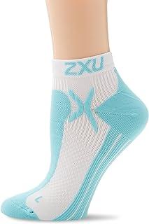 2XU Women's Performance Low Rise Socks, White/Glass Blue, Medium/Large
