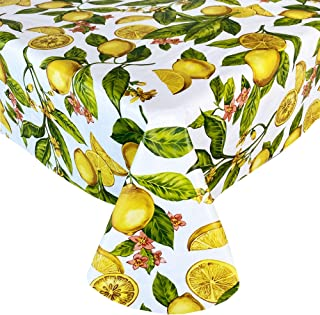 Newbridge Zesty Lemons Vinyl Flannel Backed Tablecloth, Lemon Vine Indoor/Outdoor Waterproof Tablecloth, Picnic, Barbeque, Patio and Kitchen Dining, 60 Inch x 84 Inch Oblong/Rectangle