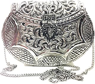 Trend Overseas Women gift Silver Brass Metal bag Bridal Clutch Party Purse