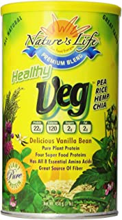 Nature's Life, Healthy Veg Protein, Delicious Vanilla Bean, Powder, 1 Pound