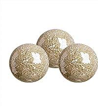 "WH Housewares Decorative Balls Set of 3 Glass Mosaic Sphere Dia 4"" Gold"