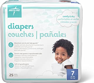 Medline MBD2007 Baby Diapers, Size 7, 41+lbs. (Pack of 25)