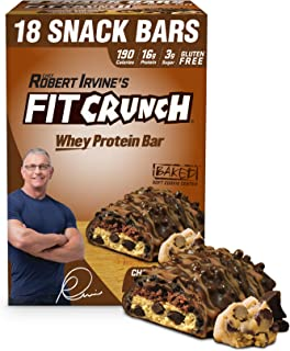 FITCRUNCH Snack Size Protein Bars | Designed by Robert Irvine | World's Only 6-Layer Baked Bar | Just 3g of Sugar & Soft Cake Core (18 Snack Size Bars, Chocolate Chip Cookie Dough)