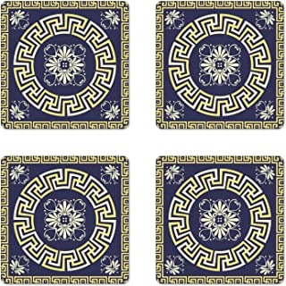 Ambesonne Greek Key Coaster Set of 4, Meander with Spring Inspired Floral Detail Rich and Retro Entangled Maze, Square Hardboard Gloss Coasters for Drinks, Dark Blue Yellow