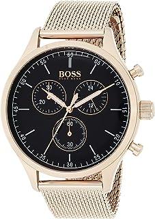ساعة هوجو بوس للرجال بمينا اسود وسوار من الستانلس ستيل - 1513548