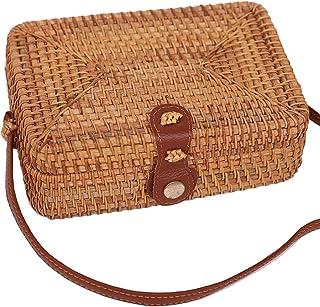 ZIYIUI Wicker Handwoven Square Crossbody Rattan Bag Straw Rattan Crossbody Women Bag Clutch Shoulder Bags Necessities Bags