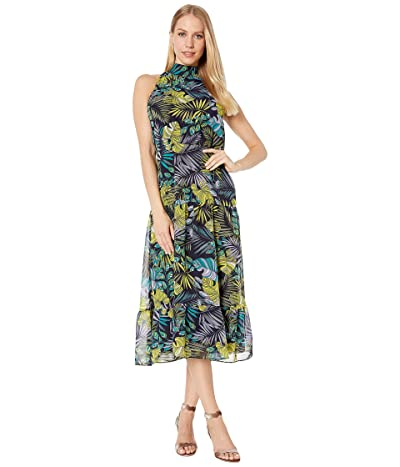 Sam Edelman Tropical High Neck Maxi Dress (Green Multi) Women
