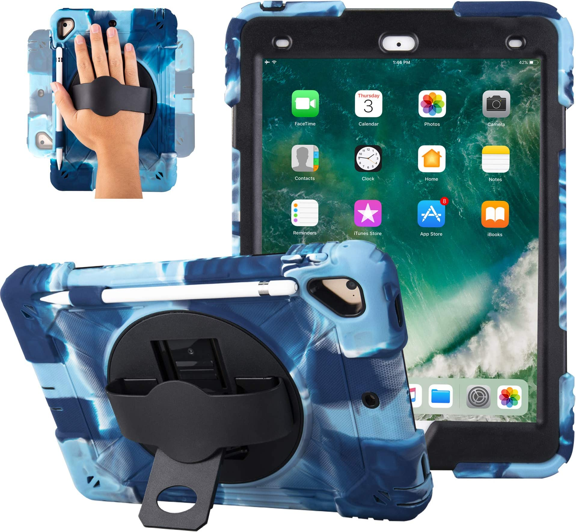 iPad 2017/2018 iPad 9.7 inch Case Shockproof Impact Resistant Protective Case Cover Full Body Rugged for Kids with Kickstand for ipad 5 th/ipad 6 th Generation(Navy/Black)