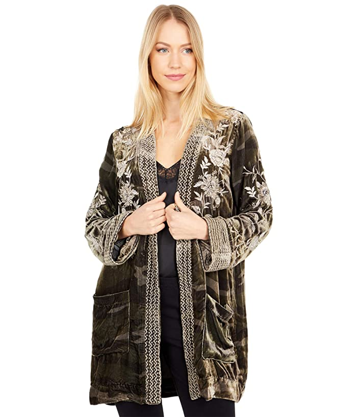 1920s Coats, Furs, Jackets and Capes History Johnny Was Millie Velvet Smoking Jacket Sequoia Camo Womens Clothing $180.42 AT vintagedancer.com