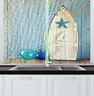 Ambesonne Nautical Kitchen Curtains, Sea Objects on Wooden Backdrop with Vintage Boat Starfish Shell Fishing Net Photo, Window Drapes 2 Panel Set for Kitchen Cafe Decor, 55
