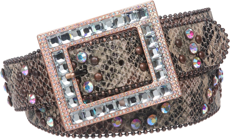 1 1 2 Snap On Cowgirl Rhinestone Studded Python Print Rectangular Leather Belt