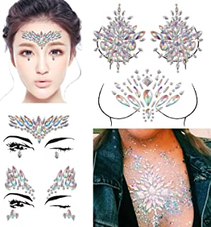 DaLin 4 Sets Rave Festival Rhinestone Face Body Jewelry Stick On Crystal Tattoo Nipple Crystal Body Gem Stones Bindi Stickers (Collection 1)